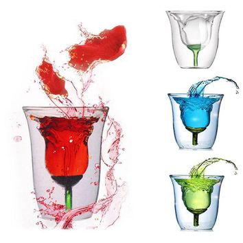 ONETOW Creative Rose Pattern Double Wall Glass Cup Clear Wine Cup Heat Resistant Drinking Bar Glassware
