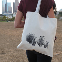 Supermarket: Screenprinted Canvas Tote Bag Sheep from nBhaTTi