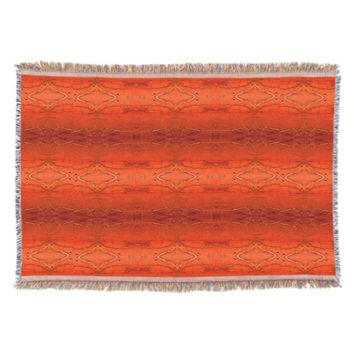 Orange Aztec Pattern Throw Blanket