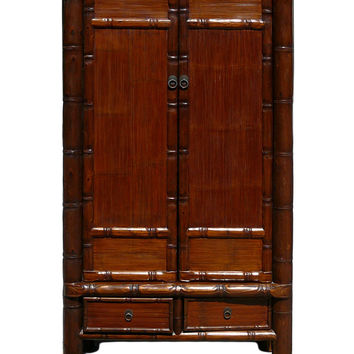 Chinese Solid Wood Carved Bamboo Simulated Cabinet Armoire cs618S