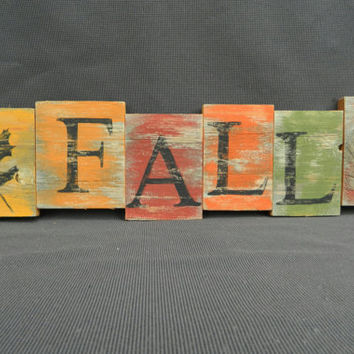 "Handpainted Reclaimed Aged Fall Colors Painted wood Art, Very Rustic and Shabby chic Sign ""FALL"""