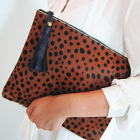 OVERSIZE Leopard Print Calf Hair Zipper Pouch Leather Clutch