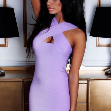 Flirtatious Lilac Front Wrap Bandage Mini Dress | Pink Boutique