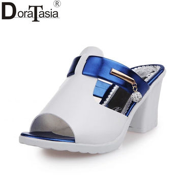 DoraTasia Hot Sale Leisure Peep Toe Platform Mixed Color Woman Shoes Square High Heels Crystal Casual Women Mules Shoes