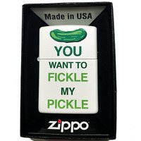 Zippo Custom Lighter - You want to FICKLE My PICKLE Funny Saying - Regular White Matte 214-CI404091