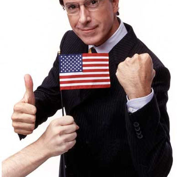 Stephen Colbert Thumb Flag and Fist Portrait Poster 11x17