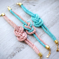 TEAL Nautical Silk knot cord Bracelet by pardes israel