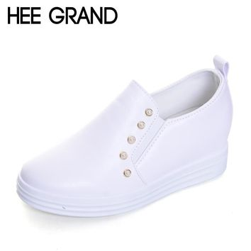HEE GRAND 2017 New Arrival Loafers Woman Soft PU Leather Autumn Flat Casual Shoes for Woman XWX5962
