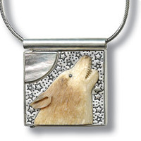 """""""Wolf Song"""" Ancient Fossilized Walrus Tusk Ivory Silver Pendant / Locket"""
