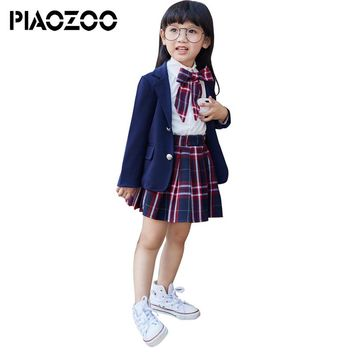 Students clothes long-sleeved shirts plaid dress girl suit coat japanese school uniform toddler girls back to school outfits P20