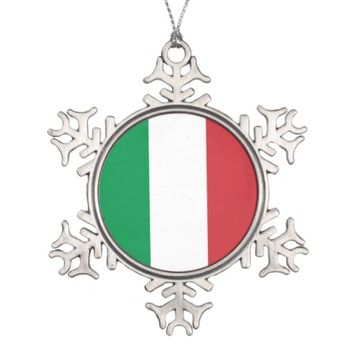 Snowflake Ornament with Italy Flag
