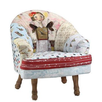 LUXURY Horchow Style Upholstered Girl Face Fabric Artisan Chair MSRP Below WHOLESALE!!