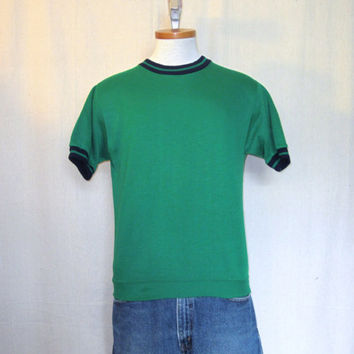 Vintage 70s ACRYLIC RINGER SWEATER Green Small Medium Soft Stylish Short Sleeve Shirt