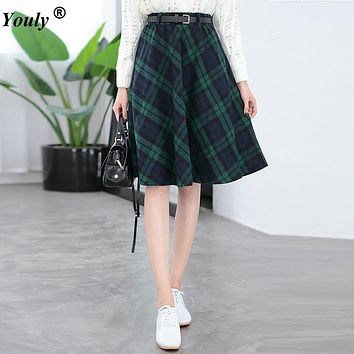 Autumn Winter 2017 Plaid Skirts Women Long A-Line Skirt British Style Woolen Skirts Kilt Vintage Wool Tartan Umbrella Skirts