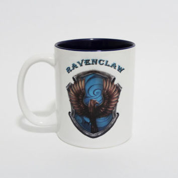 Ravenclaw Blue inside Harry Potter Coffee Mug with Traits on reverse