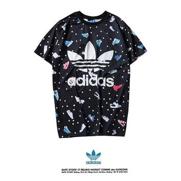 Adidas Couple  Unisex Fashion Casual All-match Tie Dye  Pattern Print   Cotton   Short Sleeve  T-shirt