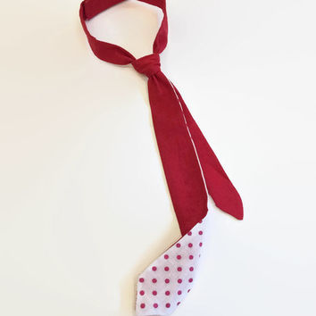 Two-sided skinny baby boy tie, tie in peas, skinny ties, designer ties, boys ties, red tie, baby boys ties