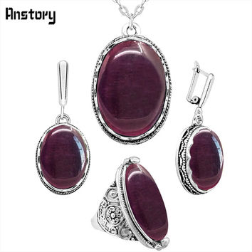 Oval Dark Red Opal Necklace Earrings Rings Jewelry Set  For Women Antique Silver Plated Pendant Stainless Steel Chain Gift