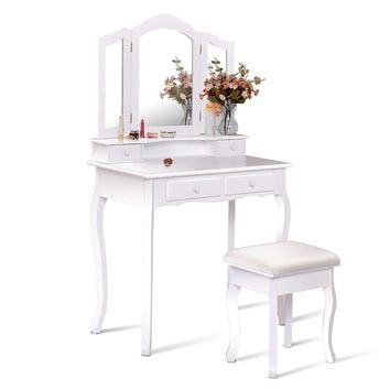 4 Drawers Wood Mirrored Vanity Dressing Table with Stool Come and have a look at this glamorous dressing table set, which will be fantastic furniture that let you realize your princess dream.