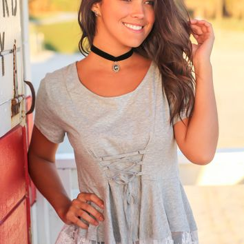 Heather Gray Top with Lace Trim and Corset Waist