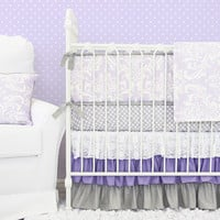 Lavender Sweet Lace Damask Baby Bedding