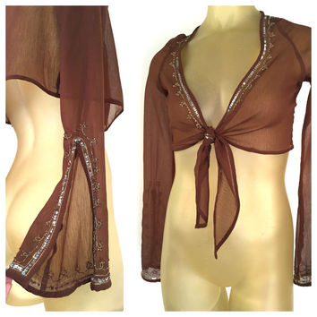 Brown Cropped Blouse, Sheer Chiffon Tie Front Top, Sparkly Sequin Trim, See Through Crop Top Split Sleeve Bohemian Top, Sheer Brown Low Cut