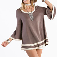 Bell Sleeve Baby Doll Top - Cocoa