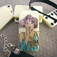 Domino Jewelry, Teen Gift for Her, Gift for Women, Flower Neckace, Domino Necklace, Domino Pendant, Upcycled Necklace, Handmade Necklace