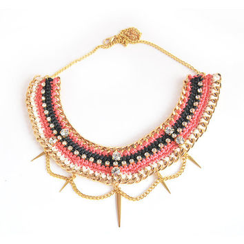 Statement necklace with rhinestones, pink necklace with chunky chain, rhinestone necklace with spikes, crochet necklace, Made to order