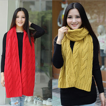 Woolen Knit Crochet Winter Foulard Scarf For Women Shawl Snood Luxury Warm Scarves Poncho Magic MF78512