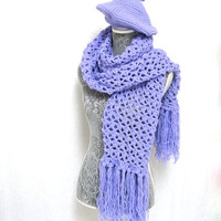 Handmade Wool/Polyester Scarf Wrap Shawl, Matching Beret Slouchy Hat Lavender