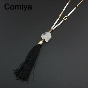 CREYCI7 Collares long white beads bijoux crystal pendant black rope tassels populares fashion pendants & necklaces statement collier