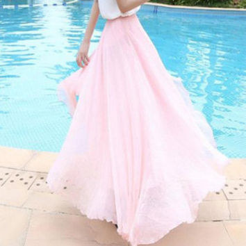 4 Colors Chiffon skirt Maxi Skirt Long Skirt Maxi Dress Silk chiffon dress  Silk Skirt Summer Pleat skirt Beach Skirt.   328