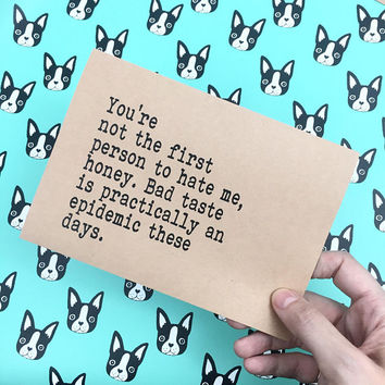 """Super snarky greetings for your hater fans. greeting card in 5""""x7"""" recycled kraft paper stationery. Try harder, hater."""