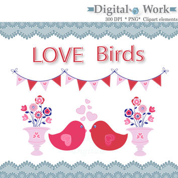Love birds clip art images, valentine clip art, flower clip art images, valentine banner clip art, pink and red valentine download