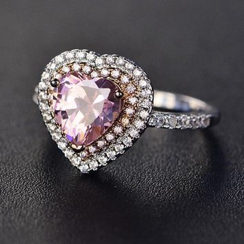 White Gold Pink Heart Ring