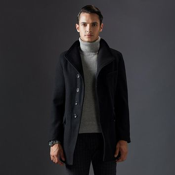 Thick Single Breasted Long Winter Coats Men Wool Coat