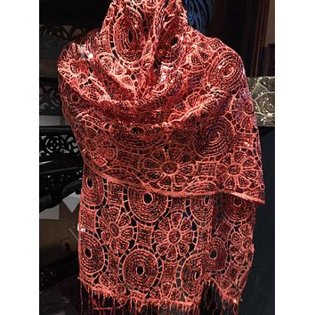 Vitage Styled Sheer red flower Sequined embroidered wrap Shawl