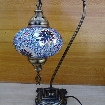 Swan neck style Turkish handmade unique authentic colourful glass mosaic bedroom night lamp, bedside lamp, table lamp, kid's room lamp.