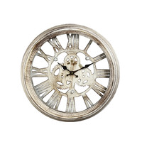 Adeco Antique-Look Distressed Iron Wall Clock with Roman Numerals