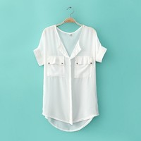 070518 u Simple neutral sleeve loose chiffon shirt