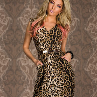 Leopard Vintage Print Sleeveless Midi Dress with Belt