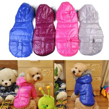 S/M/L/XL/XXL Cute Pets Dogs Clothing Warm Hooded Winter Polyester Coats Two Pocket Dog Coat For Small Large Dog Clothes