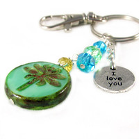 Dragonfly Keychain, I Love You Charm Keychain, Picasso Czech Dragonfly Coin Keyring, Valentine Gift