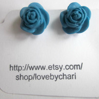 Flower Clip On Earrings Turquoise, Bridesmaid Earrings, Flower Girl Earrings