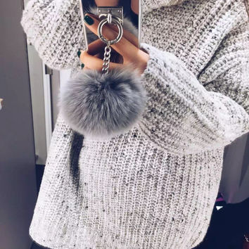 Rabbit Fur Ball Tassel Mirror TPU Case For Iphone 6 6S 7 Plus 5 5S 4S Samsung Galaxy Note 7 5 4 3 S5/4/3 S7 S6 Edge Plus A5/7/8