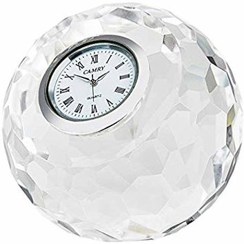"DONOUCLS Crystal Classic Lismore Diamond Table Clock 3.1"" x 3.1"" Christmas Decorations for Home"