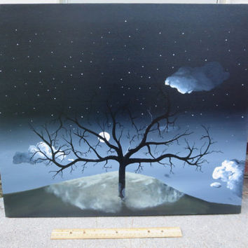 Tree painting,Acrylic painting,Landscape painting,Moonlit painting,Stars painting,Night sky painting,Original Artwork,Canvas Painting,18x24