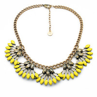 Yellow Petal Necklace,Fanned Statement Bib,Vintage Chic Rhinestone Necklace,Gift for Her