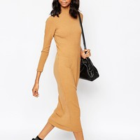 ASOS Maxi Dress in Polo Neck Rib at asos.com